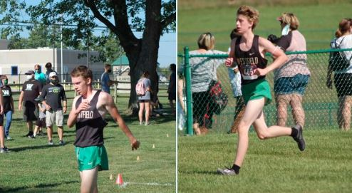 Photos of Liam and Reece Kelly in action during a cross country meet