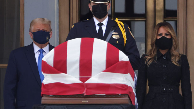 U.S. President Donald Trump and first lady Melania Trump pay their respects to Associate Justice Ruth Bader Ginsburg's flag-draped casket on the Lincoln catafalque on the west front of the U.S. Supreme Court September 24, 2020 in Washington, DC. A pioneering lawyer and according the Chief Justice John Roberts 'a jurist of historic stature,' Ginsburg died September 18 at the age of 87 after a long battle against cancer. (Photo by Alex Wong/Getty Images)