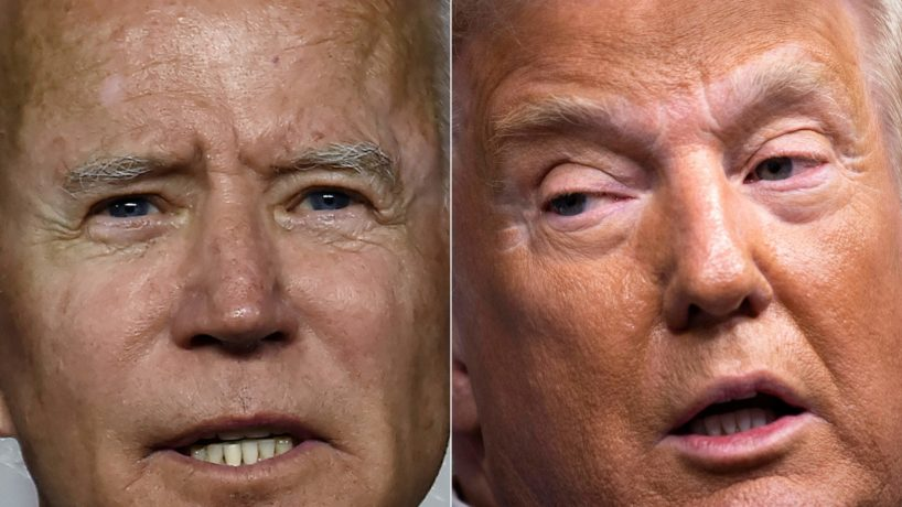 Biden and Trump's faces