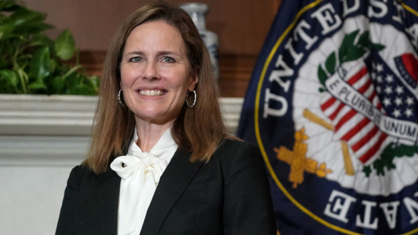Seventh U.S. Circuit Court Judge Amy Coney Barrett, President Donald Trump's nominee for the U.S. Supreme Court, meets with Sen. Bill Cassidy (R-LA) as she prepares for her confirmation hearing, on Capitol Hill on October 1, 2020 in Washington, DC. (Photo by Greg Nash-Pool/Getty Images)