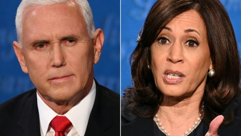 This combination of pictures created on October 07, 2020 shows US Vice President Mike Pence and US Democratic vice presidential nominee and Senator from California Kamala Harris during the vice presidential debate in Kingsbury Hall at the University of Utah on October 7, 2020, in Salt Lake City, Utah. (Photos by Eric BARADAT and Robyn Beck / AFP) (Photo by ERIC BARADAT,ROBYN BECK/AFP via Getty Images)