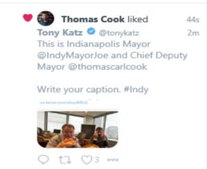 Chief Deputy Mayor Thomas Carl Cook likes his deleted tweet giving Indy the finger with Mayor Joe Hogsett