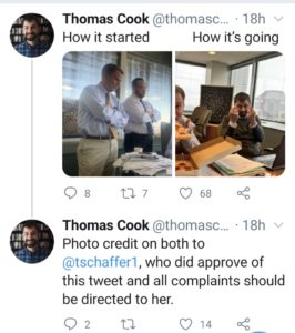 Indianapolis Chief Deputy Mayor Thomas Carl Cook says to sent complaints elsewhere if you don't like his giving the finger in a photo on Twitter.