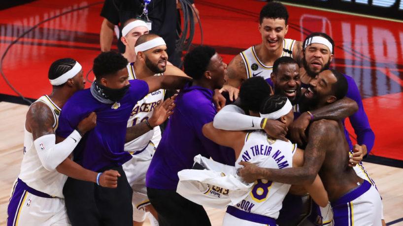Lakers celebrating