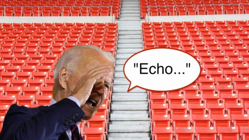 "Democratic Presidential Nominee Joe Biden Yells ""Echo!"" to an empty auditorium."