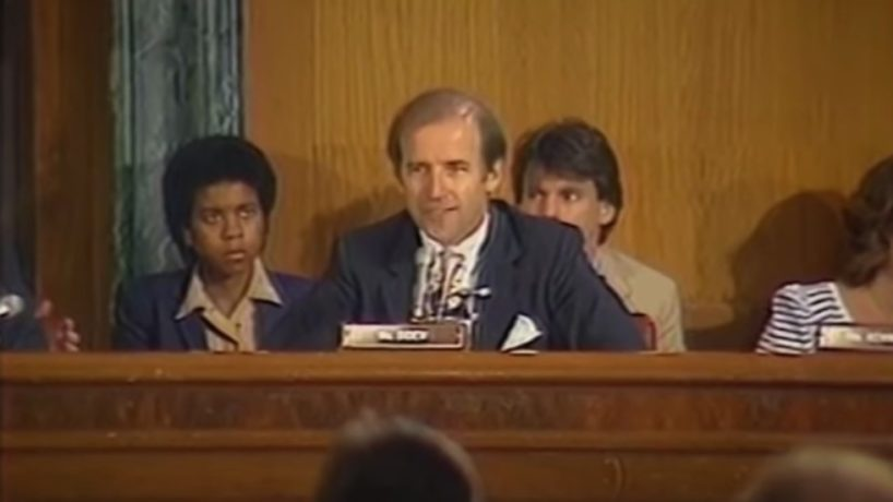 "Joe Biden in 1983 delivers an impassioned speech against FDR's proposal to ""pack the courts."""