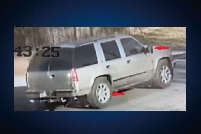 A photo of a suspect vehicle in a hit-and-run.