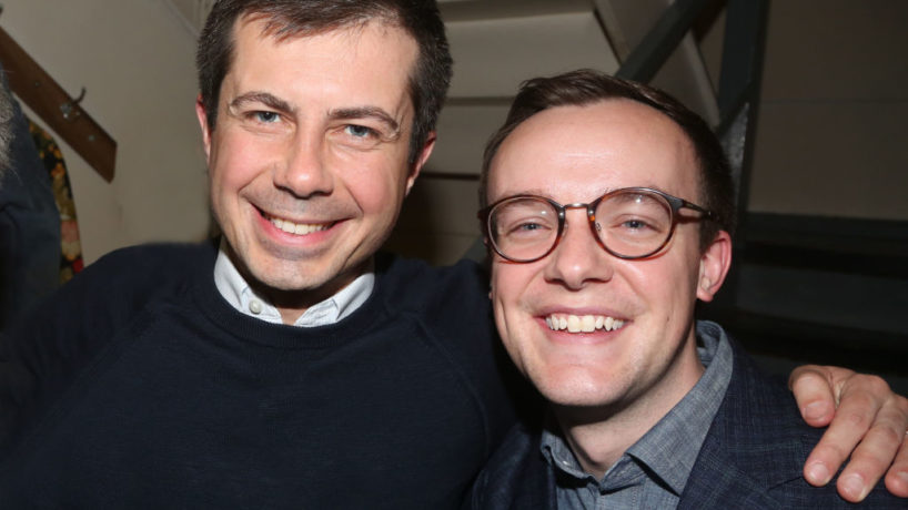 """Pete Buttigieg and husband Chasten Buttigieg pose backstage at the hit play """"The Inhertance"""" on Broadway at The Barrymore Theatre on March 8, 2020 in New York City. (Photo by Bruce Glikas/WireImage)"""