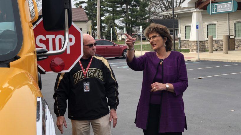 Rep. J Walorski looks at school bus arm