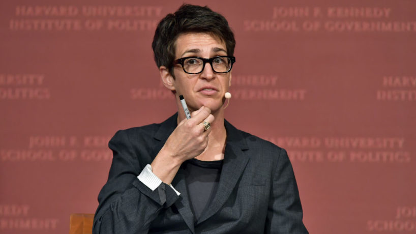 "Rachel Maddow speaks at the Harvard University John F. Kennedy Jr. Forum in a program titled ""Perspectives on National Security"" moderated by Rachel Maddow on October 16, 2017 in Cambridge, Massachusetts. (Photo by Paul Marotta/Getty Images)"