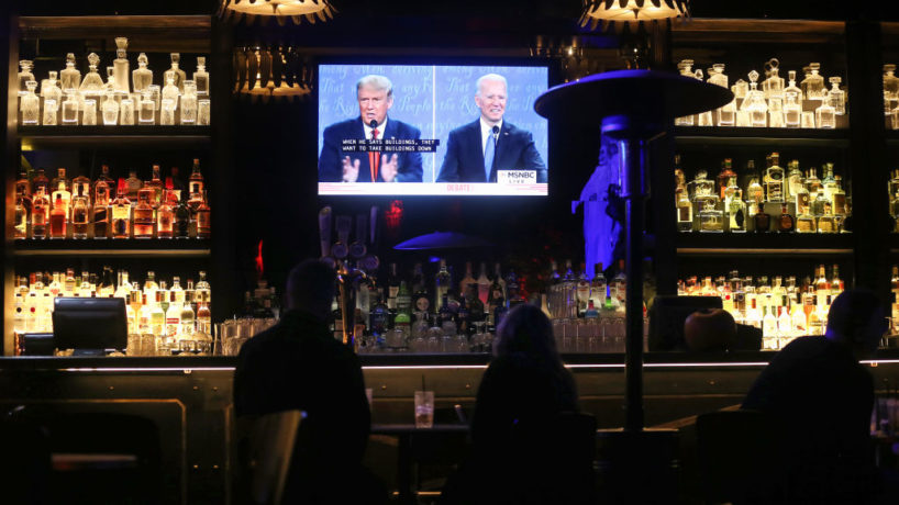 Debate watch party at a bar