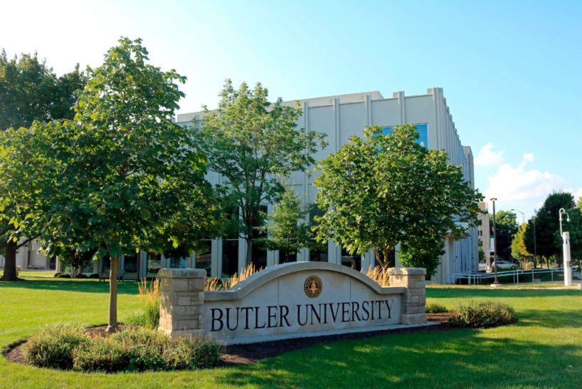 Entrance sign into Butler University in Indianapolis. (Photo by: Education Images/Universal Images Group via Getty Images)