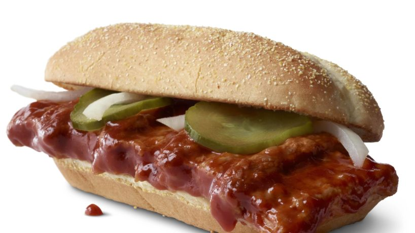 A McRib sandwich as served by McDonald's.