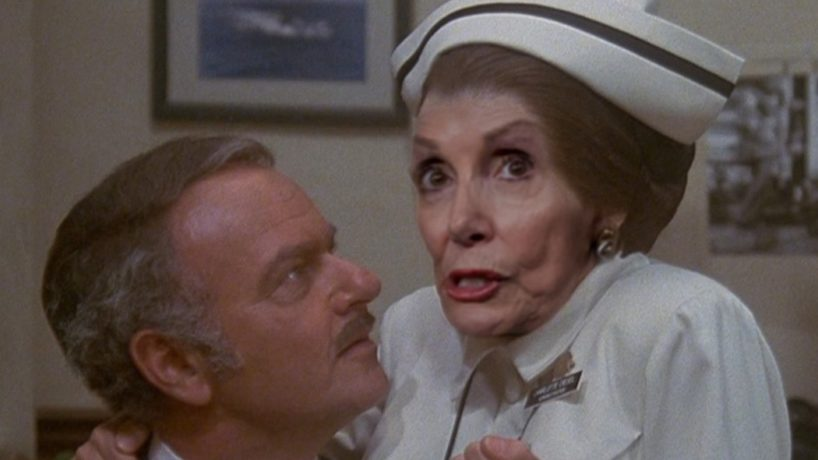 "Democrat Nancy Pelosi appears as ""Nurse Diesel"" from ""High Anxiety."""