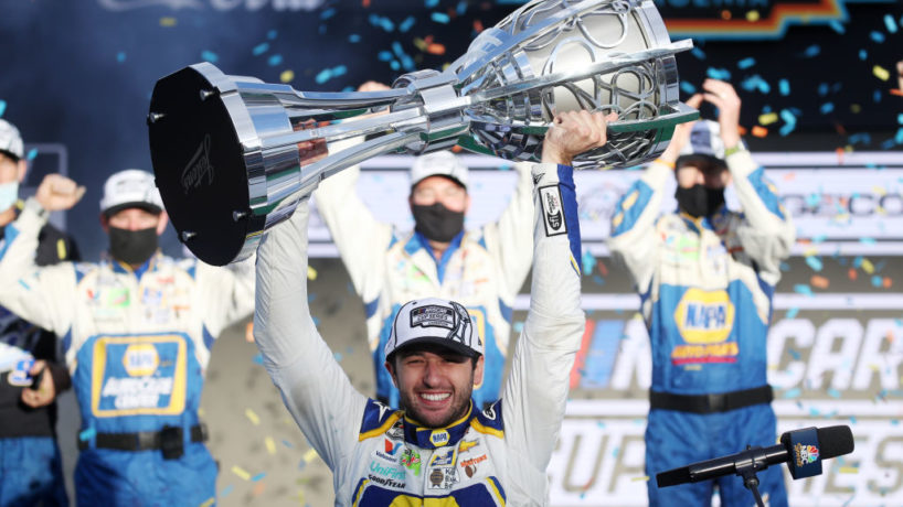 Chase Elliott holding the NASCAR Cup