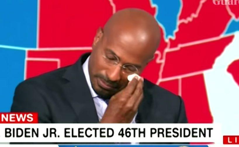 Van Jones from CNN weeps upon hearing the news of Biden's win.