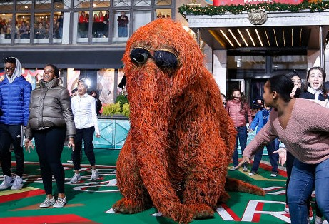 Mr. Snuffleupagus and the National Dance Institute during the 93rd Annual Macy's Thanksgiving Day Parade rehearsals at Macy's Herald Square on November 25, 2019 in New York City. (Photo by John Lamparski/Getty Images)