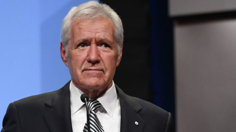 """Jeopardy!"""" host Alex Trebek speaks as he is inducted into the National Association of Broadcasters Broadcasting Hall of Fame during the NAB Achievement in Broadcasting Dinner at Encore Las Vegas on April 9, 2018 in Las Vegas, Nevada. NAB Show, the trade show of the National Association of Broadcasters and the world's largest electronic media show, runs through April 12 and features more than 1,700 exhibitors and 102,000 attendees. (Photo by Ethan Miller/Getty Images)"""