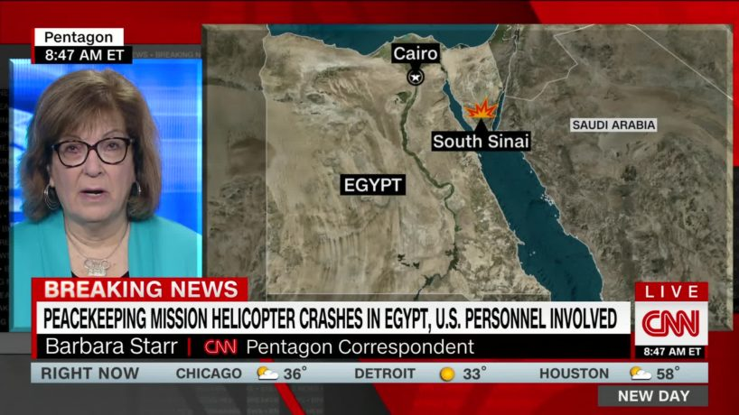 A screen capture of a CNN broadcast about a helicopter crash involving peacekeepers.