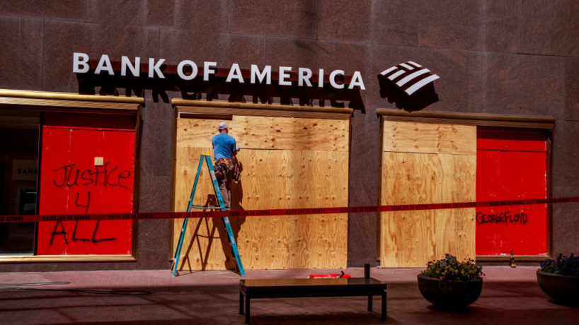 INDIANAPOLIS, INDIANA, UNITED STATES - 2020/05/31: A Bank of America branch is boarded up in downtown after the riots in response to the killing of George Floyd and Sean Reed in Indianapolis. (Photo by Jeremy Hogan/SOPA Images/LightRocket via Getty Images)