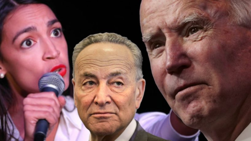 Joe Biden, Chuck Schumer, and Alexandria Ocasio-Cortez appear in a composite image