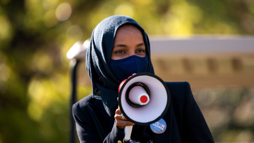 Congressional candidate Rep. Ilhan Omar (D-MN) speaks during a get out the vote event on the University of Minnesota campus on November 3, 2020 in Minneapolis, Minnesota. After a record-breaking early voting turnout, Americans head to the polls on the last day to cast their vote for incumbent U.S. President Donald Trump or Democratic nominee Joe Biden in the 2020 presidential election. (Photo by Stephen Maturen/Getty Images)