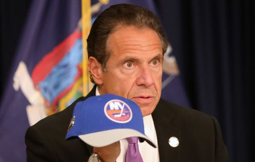 New York state Gov. Andrew Cuomo holds an NHL New York Islanders hat at a news conference on September 08, 2020 in New York City. Cuomo, though easing restrictions on casinos and malls throughout the state, has declined to do so for indoor dining in restaurants in New York City despite pressure from business owners, citing struggles by the city to enforce the state's previous orders. (Photo by Spencer Platt/Getty Images)