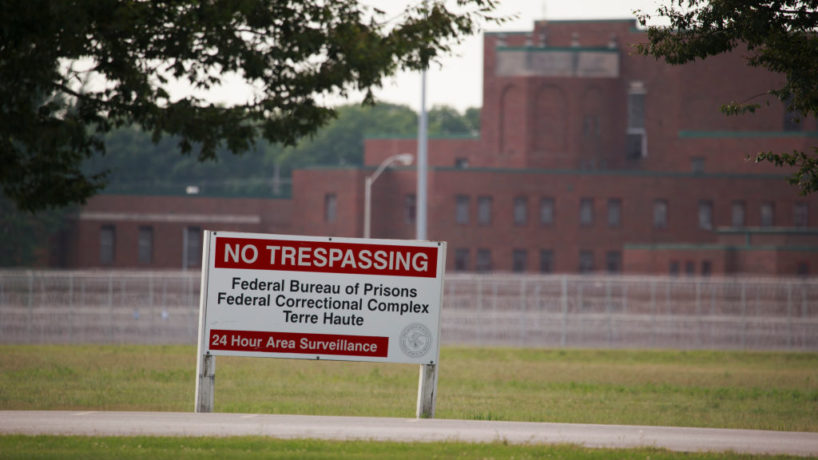 View of a sign outside the Terre Haute Federal Correctional Complex where death row inmates are executed.