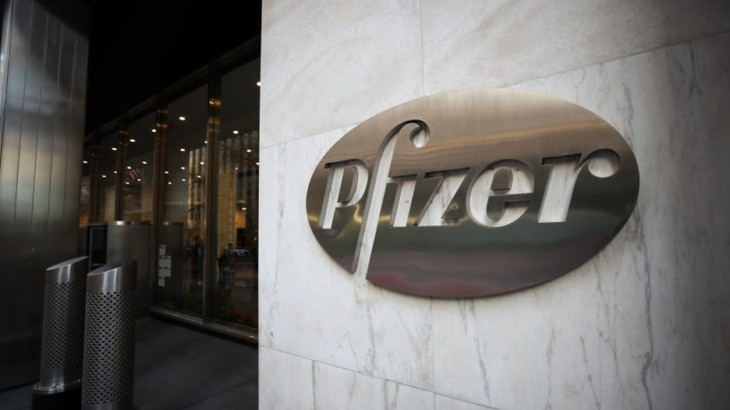 The logo of Pfizer is seen on the headquarter in Manhattan, New York City, United States on November 19, 2020.