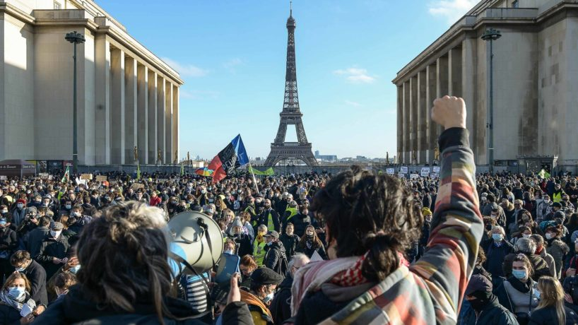 Protesters in Paris, France