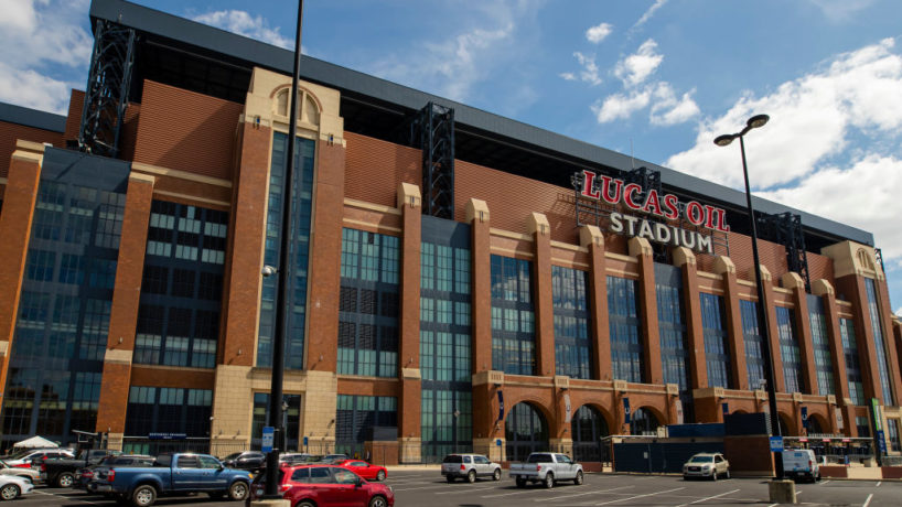 A exterior view of Lucas Oil Stadium before the Indianapolis Colts and Chicago Bears game on August 24, 2019 in Indianapolis, Indiana.