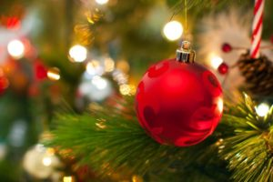 A close-up of a red ornament on a Christmas tree branch.