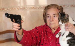 A grandma with a cat points a gun at an intruder.