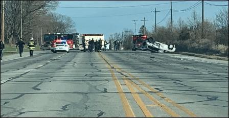 A photo of a crash on U.S. 40 in Hendricks County