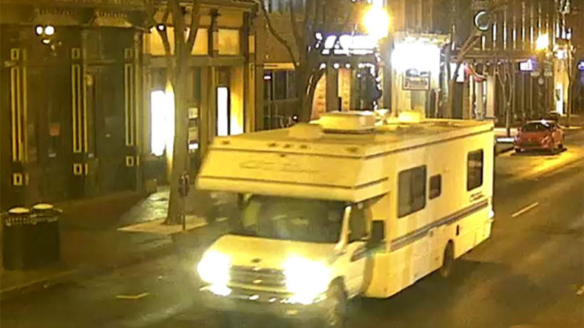 In this handout image provided by the Metro Nashville Police Department, a screengrab of surveillance footage shows the recreational vehicle suspected of being used in the Christmas day bombing on December 25, 2020 in Nashville, Tennessee. A Hazardous Devices Unit was en route to check on a recreational vehicle which then exploded, extensively damaging some nearby buildings. According to reports, the police believe the explosion to be intentional, with at least 3 injured and human remains found in the vicinity of the explosion. (Photo by Metro Nashville Police Department via Getty Images)