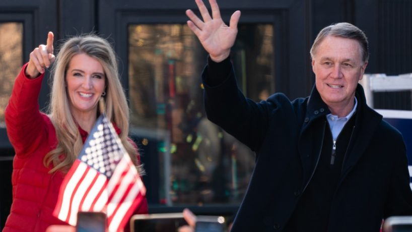 Ivanka Trump and Senators Kelly Loeffler (R-GA) and David Perdue (R-GA) wave to the crowd at a campaign event on December 21, 2020 in Milton, Georgia. The two Georgia U.S. Senate runoff elections on Jan. 5 will decide control of the Senate. (Photo by Elijah Nouvelage/Getty Images)