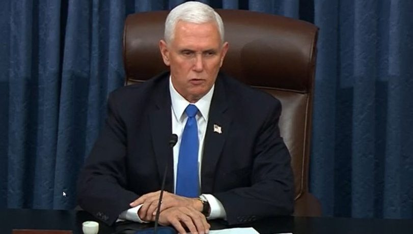 In this screenshot taken from a congress.gov webcast, Vice President Mike Pence presides over the Senate debate session to ratify the 2020 presidential election at the U.S. Capitol on January 6, 2021 in Washington, DC. Congress has reconvened to ratify President-elect Joe Biden's 306-232 Electoral College win over President Donald Trump, hours after a pro-Trump mob broke into the U.S. Capitol and disrupted proceedings. (Photo by congress.gov via Getty Images)