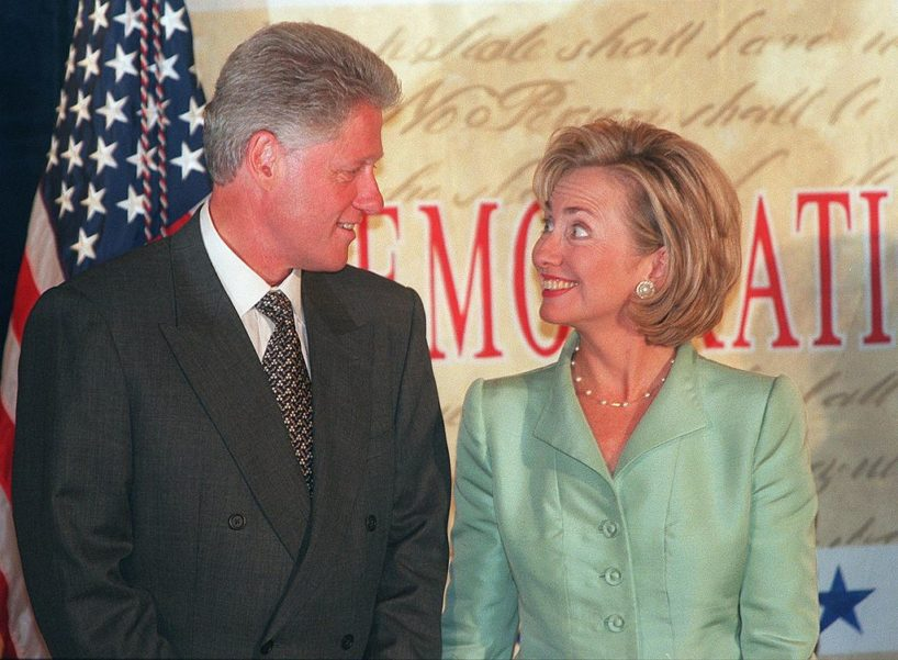 WASHINGTON, : US First Lady Hillary Clinton (R) smiles at US President Bill Clinton at a fundraising event 10 September in Washington, DC. Earlier, Independent Counsel Kenneth Starr submitted his report to the Congress regarding the president's handling of an alleged affair with White House intern Monica Lewinsky. AFP PHOTO/TIM SLOAN