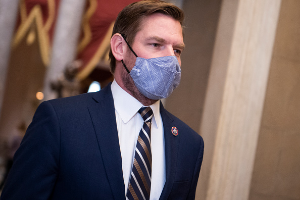 UNITED STATES - JANUARY 13: Rep. Eric Swalwell, D-Calif., an impeachment manager, is seen in the Capitol before the House voted to impeach President Donald Trump for inciting an insurrection on