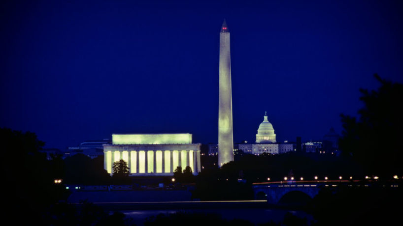 The National Mall at night.