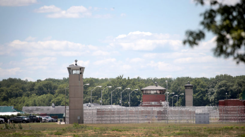 A guard tower sits along a security fence at the Federal Correctional Complex on July 13, 2020 in Terre Haute, Indiana.