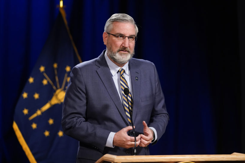 Indiana Gov. Eric Holcomb delivers his State of the State address virtually, Tuesday, Jan. 19, 2021, in Indianapolis.