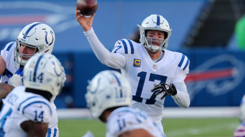 Philip Rivers #17 of the Indianapolis Colts throws a pass during a game against the Buffalo Bills at Bills Stadium on January 9, 2021 in Orchard Park, New York.