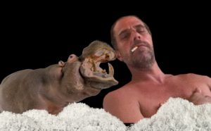 Hunter Biden sits in a tub of Cocaine with his pet hippo.