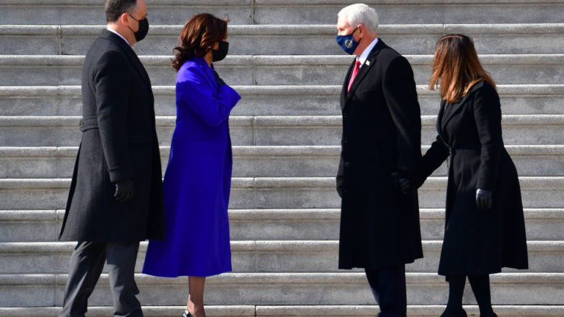 The Pence's saying goodbye to Kamala Harris