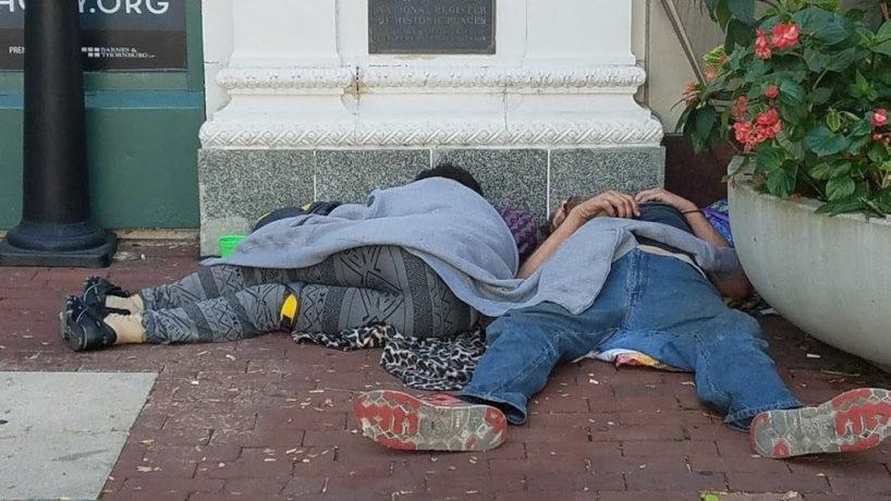 Homeless asleep on the Circle