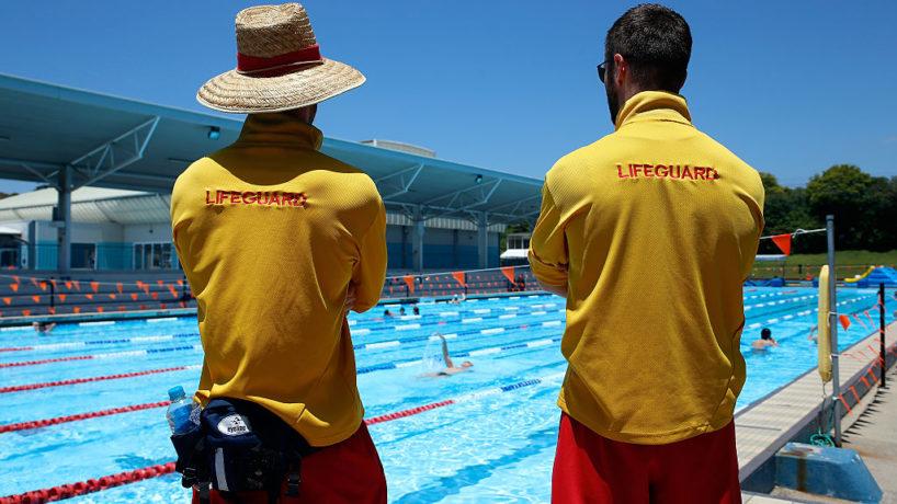 Lifeguards patrol the pool at Ashfield Aquatic Centre on January 13, 2016 in Sydney, Australia.