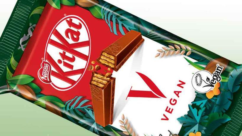 The packaging of KitKat V, a vegan KitKat.