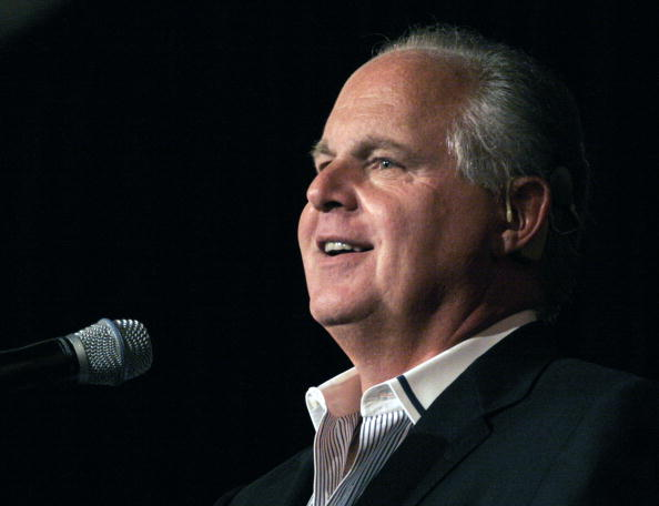 """Radio talk show host and conservative commentator Rush Limbaugh speaks at """"An Evenining With Rush Limbaugh"""" event May 3, 2007 in Novi, Michigan."""