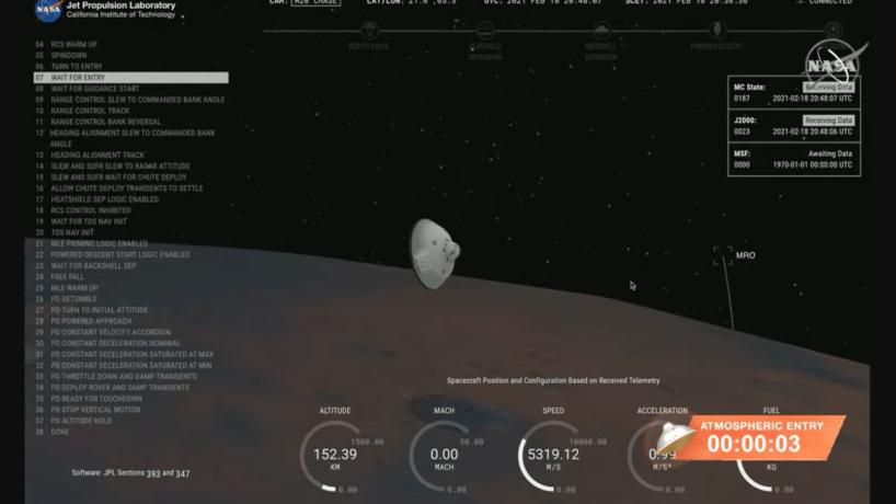 Nasa Screen Capture of Rover Landing On Mars